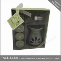 China Sweet Smelling Ceramic Scented Oil Burner With Small Candle In The Box wholesale