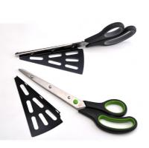 China FDA PP Small Kitchen Tools , Pizza Cutter Scissors With Detachable Spatula wholesale