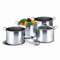 China 8-piece Stainless Steel Tall Stock Pot Set with Glass Lid and Double Handles on sale