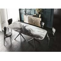 China Dining Room Custom Made Furniture Marble Top Dining Table Square Shaped Design wholesale