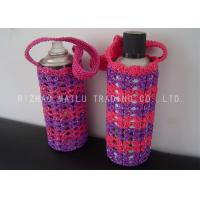 China Reusable Crochet Water Bottle Cover Pink And Purple Knitted Water Bottle Holder wholesale