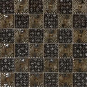 China Metal pattern ceramic backup blend glass mosaic tile on sale