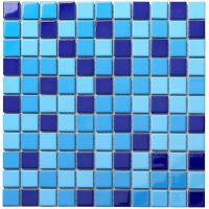 China Blue Square Glass Mosaic Bathroom Wall Floor Pool Swimming Tile wholesale