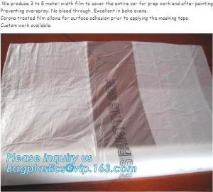 China auto adhesive paint masking protect film 3.8*100m,HDPE car overspray masking film Logo printing,Antistatic corona treate wholesale