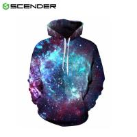 China Autumn Winter Space Galaxy 3D print Sweatshirts Men And Women Loose With Hat Stars Loose Hoodies on sale