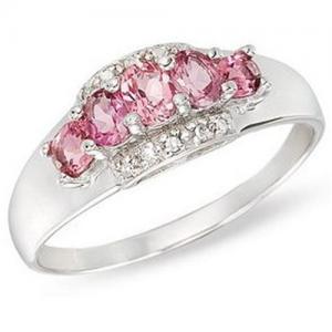 China Gold Ring14K White Gold Ring Pink Tourmaline and Diamond wholesale