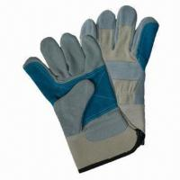 China Leather Safety Gloves, Green Reinforced Palm, White Canvas Back, Gray Cow Split, Palm Line on sale