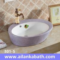 China 2016 new model fashion sanitary ware colorful  Double glazed art basin purple and white color wholesale