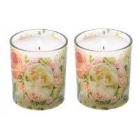 China Machine Made Glass Candle Holder With Decal / Sandblasting Glass Cups For Candle wholesale
