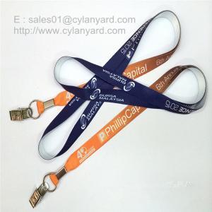 China Alligator clip card holder neck straps, bulldog clip ID badge neck ribbons, wholesale