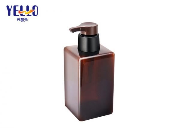 Quality 450ml Plastic Amber Square Shampoo Bottles  ,  Empty Body Wash Shower Gel Bottle for sale