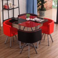 China Modern Fiber Glass Top Dining room furniture dining Table And Chairs set 1+4 Seater on sale