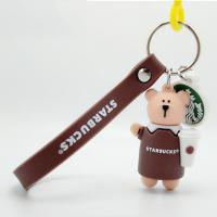 China Custom Soft PVC Starbucks Bear Figure Miniature Key Ring 3D Soft PVC Pendant Attached To Plastic Hook And Silicone Strap wholesale