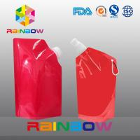 350ml 500ml 1L  plastic Flask Water green red color printed Bottle Bag with big Cap