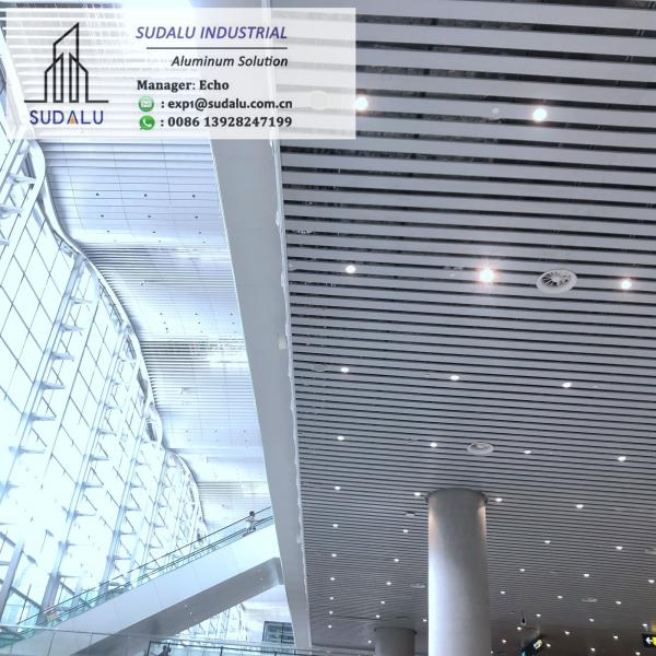Quality SUDALU Aluminum Shutter Ceilling Aluminum Aerofoil Louver Ceiling for Airport Metro Usage 10 years Warranty for sale