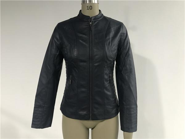 Quality Womens Ink PU Leather Jacket , Female Biker Jackets With Binding Insertion TW77398 for sale