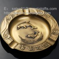 China 7 inch round metal souvenir cigarette ashtrays for branded engraved, on sale