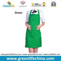 China Fashion lovely peak green kitchen cooking apron advertisment promotional apron with logo wholesale