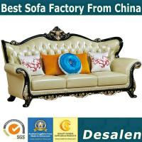 Buy cheap B02 wooden carved Luxury home furniture Royal genuine leather sofa set. 1+2+3 from wholesalers