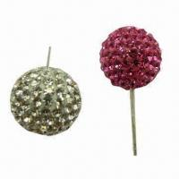 Buy cheap 2012 Fashionable Colorful Crystal Rhinestone Disco Ball Silver Earrings from wholesalers