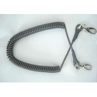 China Black hot selling spiral coiled lanyard plastic coated strong 1.0 stainless steel cord saf wholesale