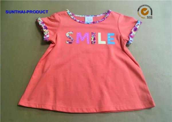 Quality Azalea Color Baby Girl Short Sleeve Tops Contrast Neck Binding Screen Print / Applique for sale