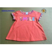 China Azalea Color Baby Girl Short Sleeve Tops Contrast Neck Binding Screen Print / Applique wholesale