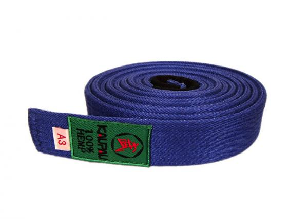 Quality Blue Hemp Bjj Belt / Traditional Jiu Jitsu Belts 4CM width Cutting for sale