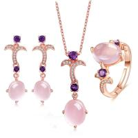 China Women's  Jewellery Set 925 Silver Natural Gemstone Chain Necklace Ring Earrings wholesale