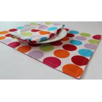 China Red Dot Printed 250gsm Canvas Cotton Fabric Placemats Coffee Table Mat wholesale