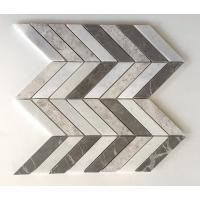 China Chevron Brown Silver Marble Mixed Mosaic Tiles , 12x12 Mosaic Tile Sheets wholesale