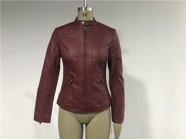 Quality Mandarin Collar Womens PU Leather Jacket , Burgundy Pleather Biker Jacket TW75801 for sale