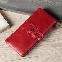 China Unisex Classic Red Color Phone Wallet Purse Long Small Wallet Purse RFI Anti Thief on sale