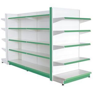 China Assemble Green Supermarket Display Racks Metal Grinding Back Panel wholesale