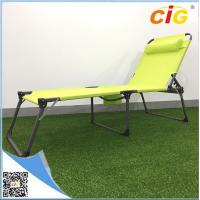 China Adjustable Sling Tanning Bed Outdoor Furnitures With Side Bag , Comfortable Folding Day Bed wholesale