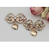 China LHZ1004 Zinc Alloy And Rhinestone Shoe Accessories Buckle Replacement Bow Shape wholesale