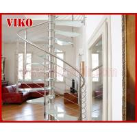 China Spiral StaircaseVH34S Tread Glass Aluminum  Baluster  Stair Curved Glass Handrail 304 Stainless Steel 12mm Glass on sale