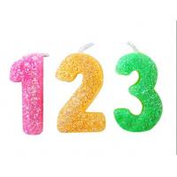 China Rainbow Color Glitter Number Candles For Birthday / Charistmas / Party Decoration wholesale
