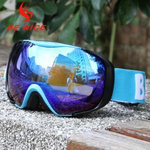China UV Protect Blue Mirrored Ski Goggles Three Layer Foam With Blue TPU Frame wholesale