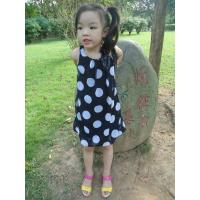 China Sequences Little Girls Polka Dot Dress , Bow Shoulder Childrens Chiffon Dresses wholesale