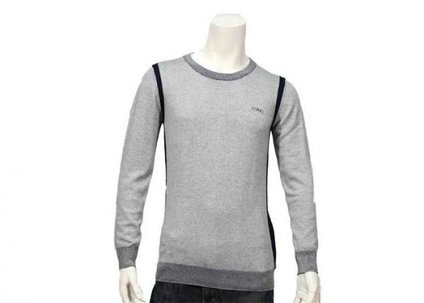 Quality Regular Sleeve Breathable Warm Mens Knit Sweater Grey Cotton Sweater Round Neck for sale