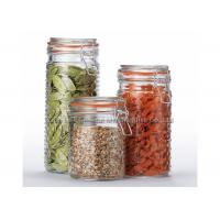 China OEM Clear airtight glass canisters , glass food storage jars with lids for kitchen wholesale