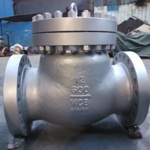 China ASME B16.34,carbon steel check valve,swing type,bb,wcb body,stellite HF,12inch,RF,600LB on sale