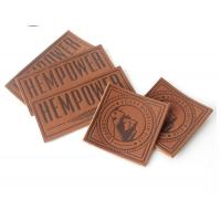 China Heat Press Logo Embossed Leather Patch Washable Faux Leather Labels wholesale