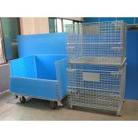 China Galvanised Foldable Pallet Wire Storage Cages Containers , Security Cages For Storage on sale