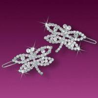 China Butterfly Shape Hair Clips with AAAAA Quality Rhinestones and Silver Plating wholesale