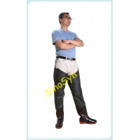 China FQT1904 Dark-Green Embossed PVC Skidproof Underwater Outdoor Fishing Waders with Rain Boots wholesale
