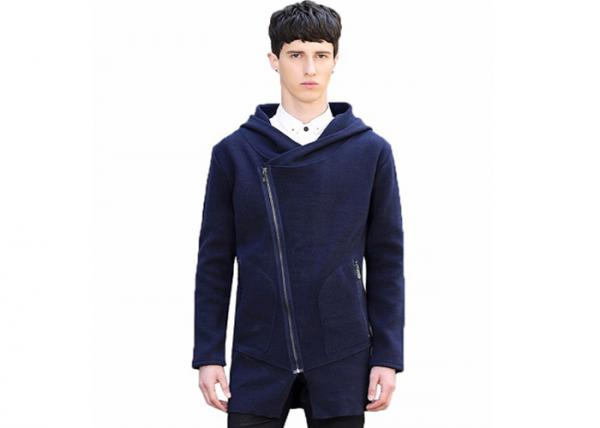 Quality Navy Hoodie Mens Knit Sweater Long Cardigan Sweater Zip Up Design 7 Gauge for sale