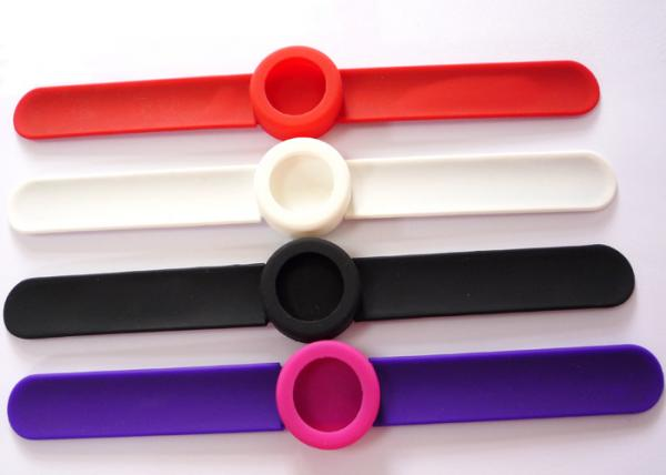 Quality Debossed / embossed / silk printed round fface slap watch bands rubber watch strap for sale