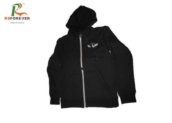 Quality Plain Black Zip Up Hooded Sweatshirt Jacket Wrinkle Free For Athletic Running for sale